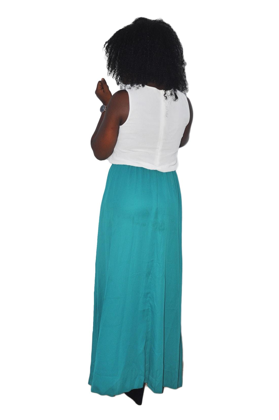 M0166 whitegreen2 Maxi Dresses maureens.com boutique