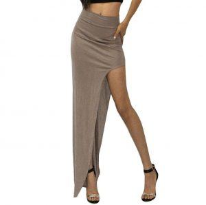 M0182 khaki1 Side Split Skirts maureens.com boutique