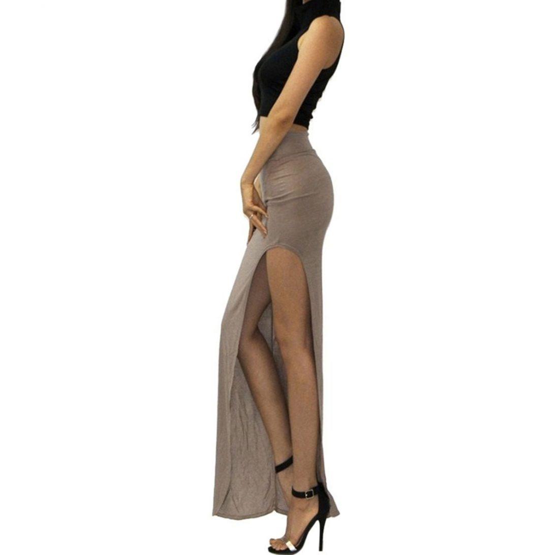 M0182 khaki2 Side Split Skirts maureens.com boutique