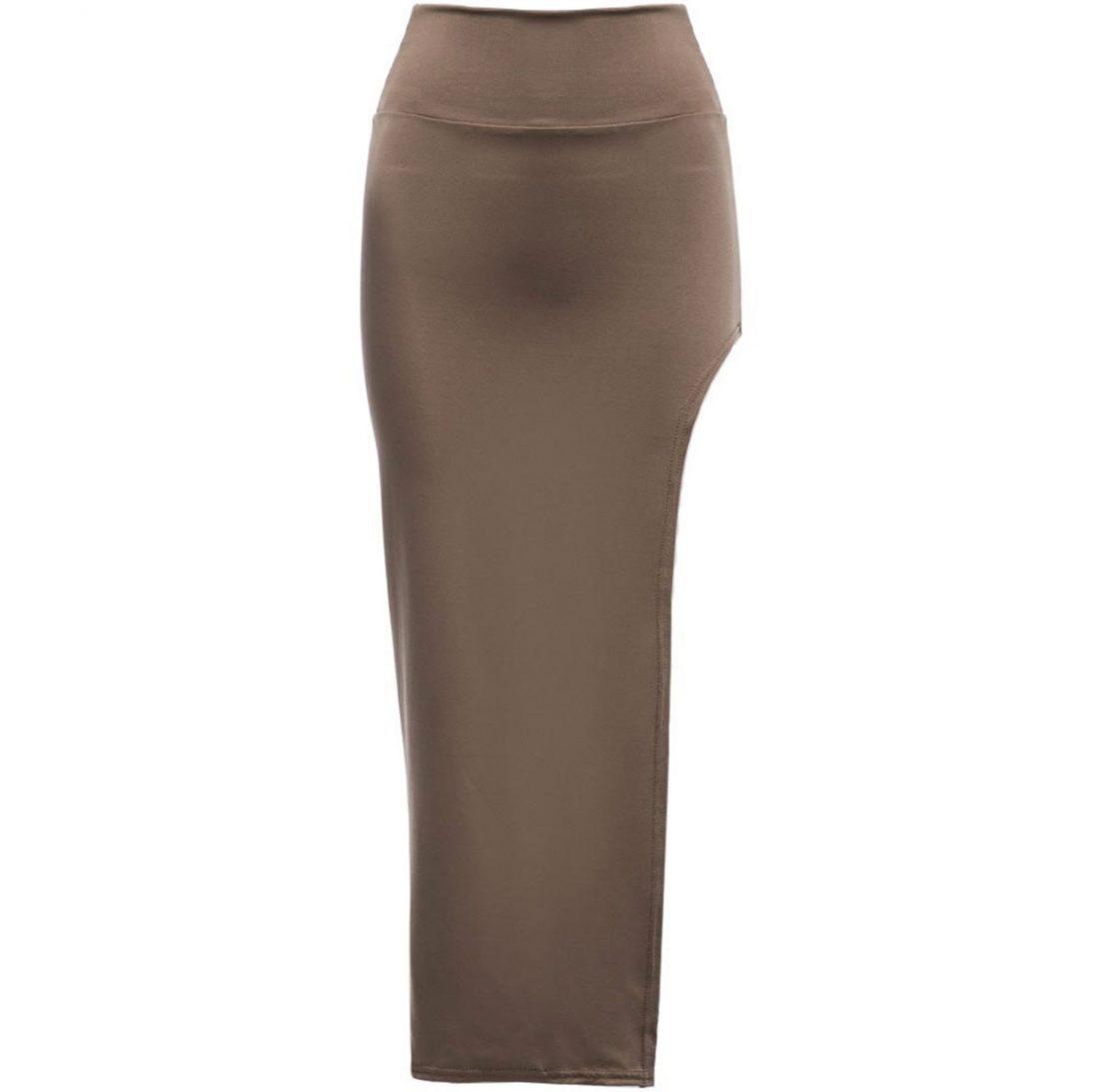 M0182 khaki4 Side Split Skirts maureens.com boutique