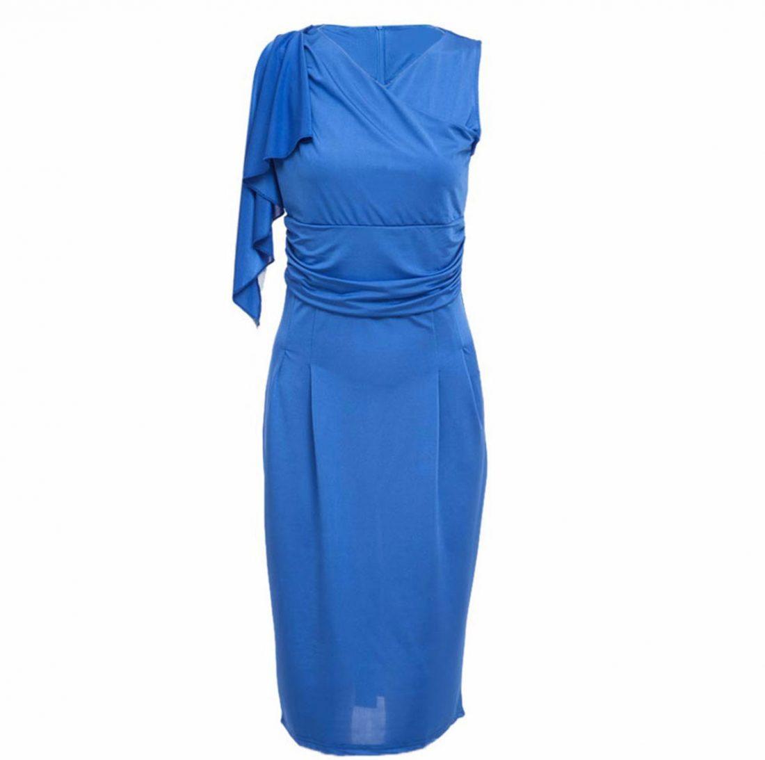 M0188 blue2 Short Sleeve Dresses maureens.com boutique