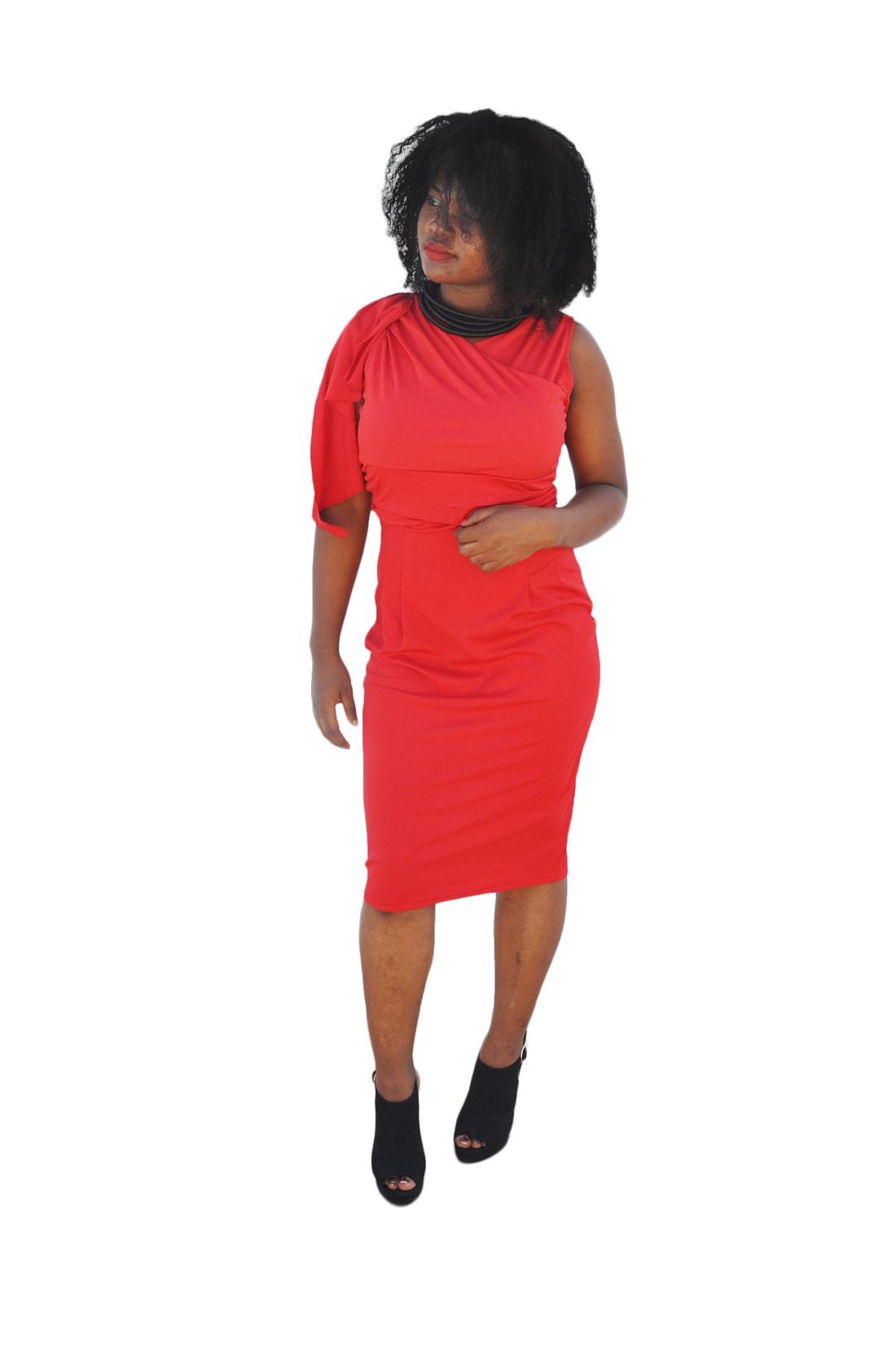 M0188 red1 Short Sleeve Dresses maureens.com boutique