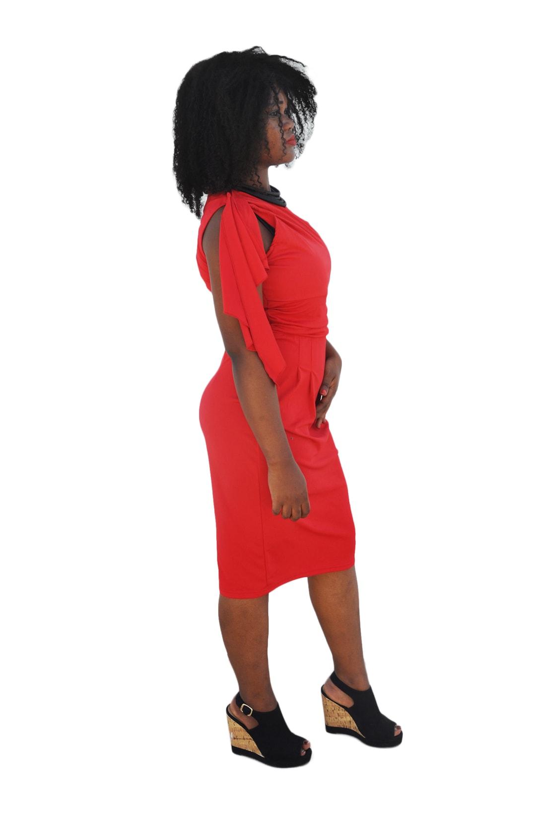 M0188 red2 Short Sleeve Dresses maureens.com boutique