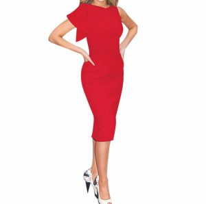 M0188 red4 Short Sleeve Dresses maureens.com boutique