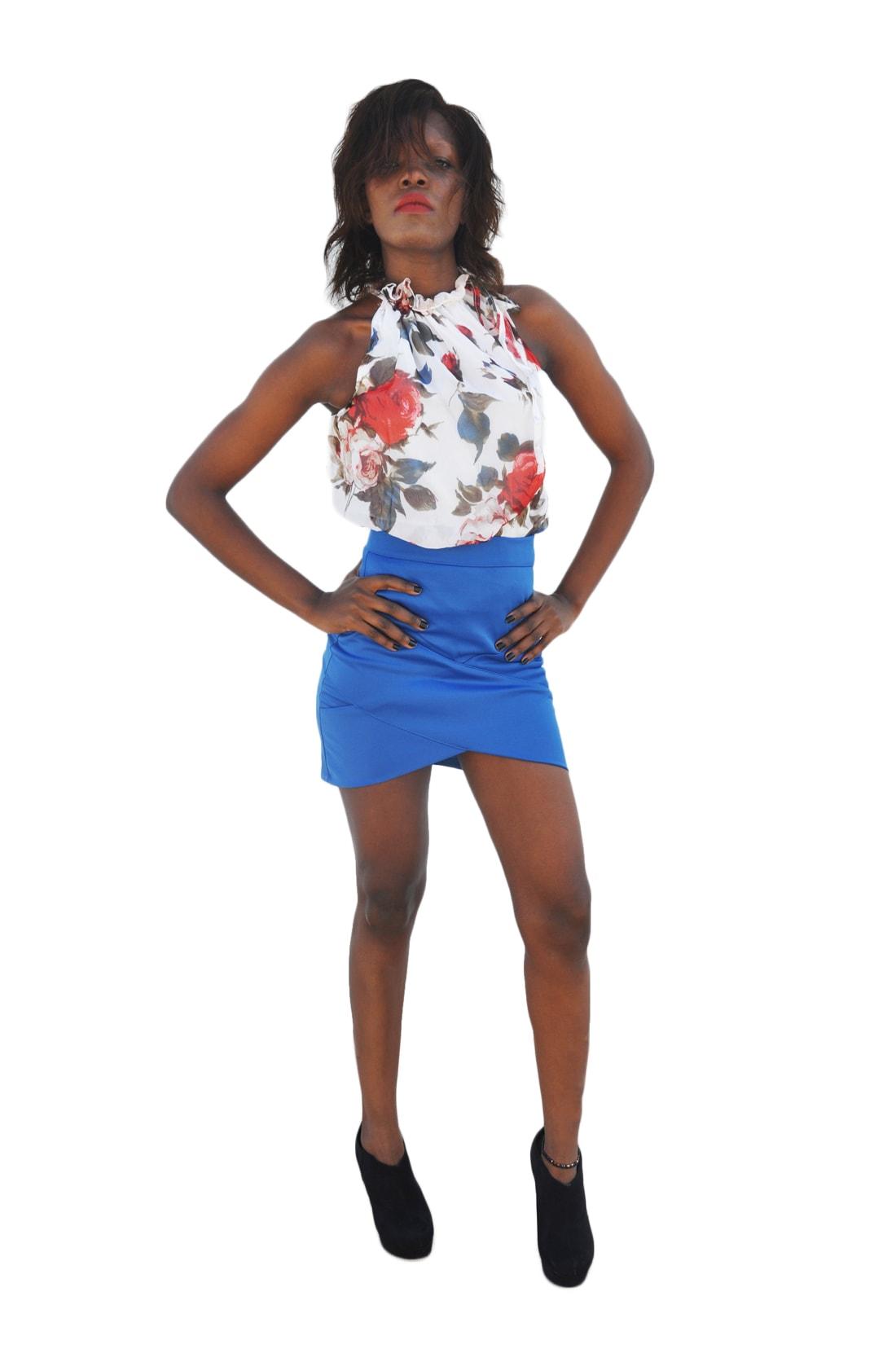 M0196 blue2 Mini Skirts maureens.com boutique