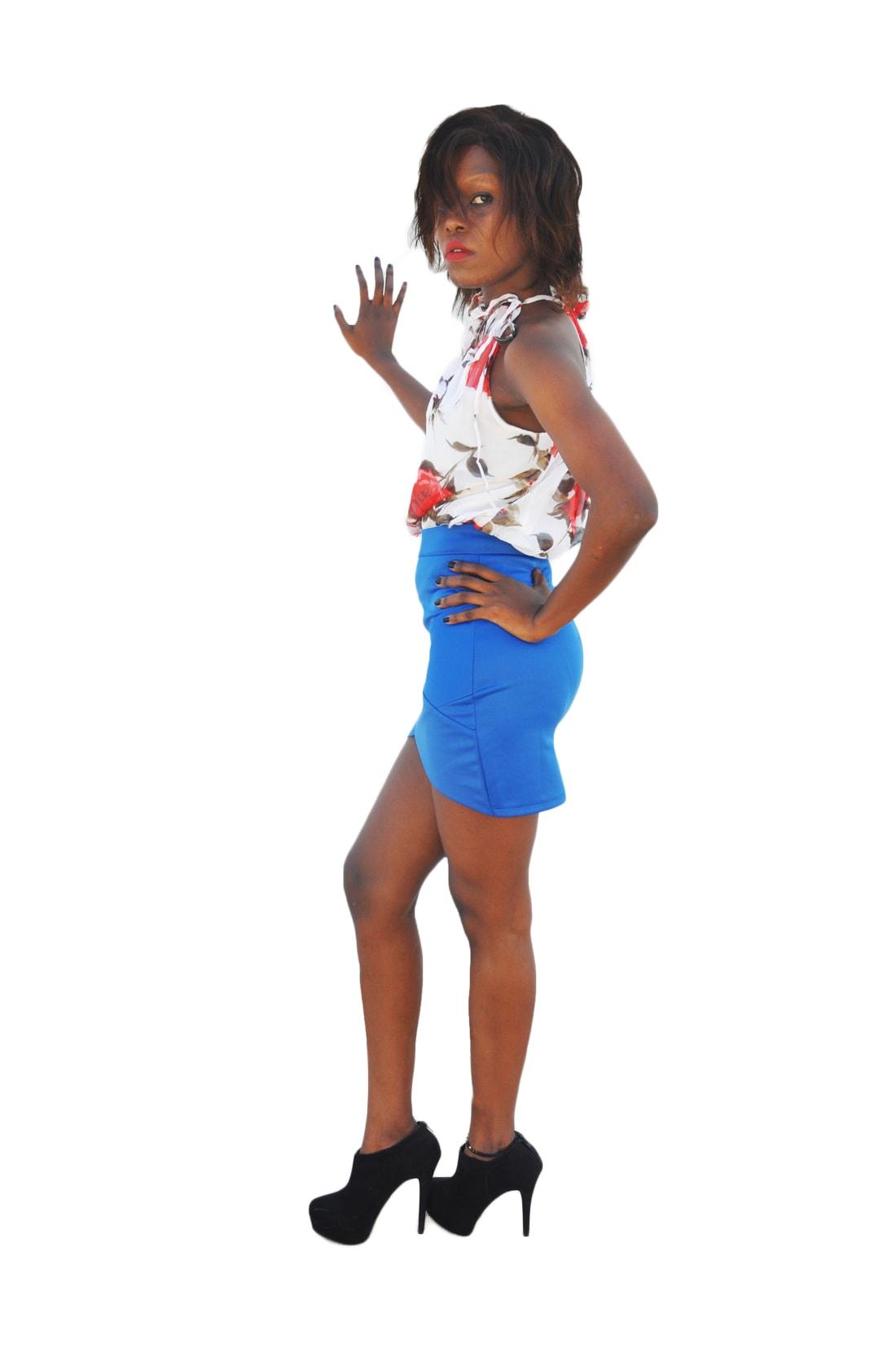 M0196 blue3 Mini Skirts maureens.com boutique
