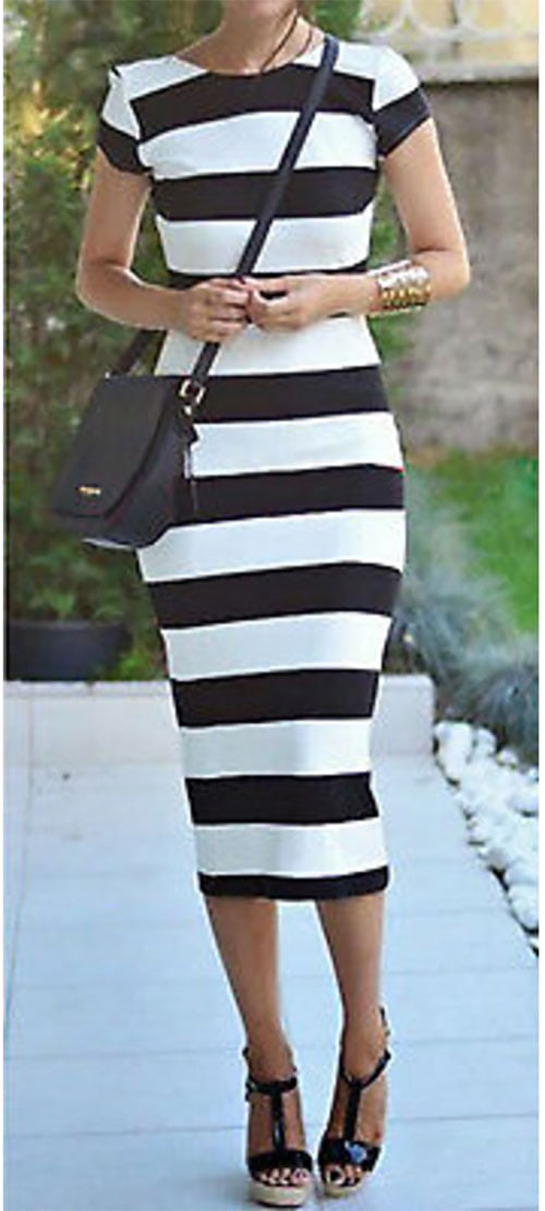 M0205 blackwhite1 Midi Medium Dresses maureens.com boutique
