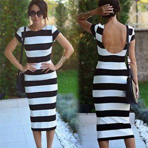 M0205 blackwhite2 Midi Medium Dresses maureens.com boutique