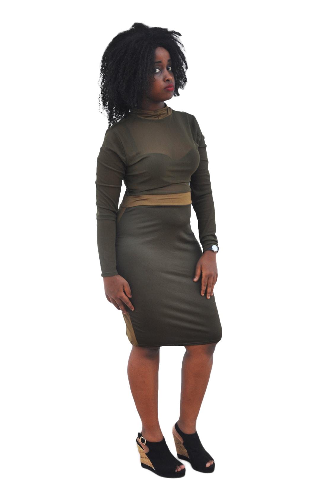 M0210 olive1 Midi Medium Dresses maureens.com boutique