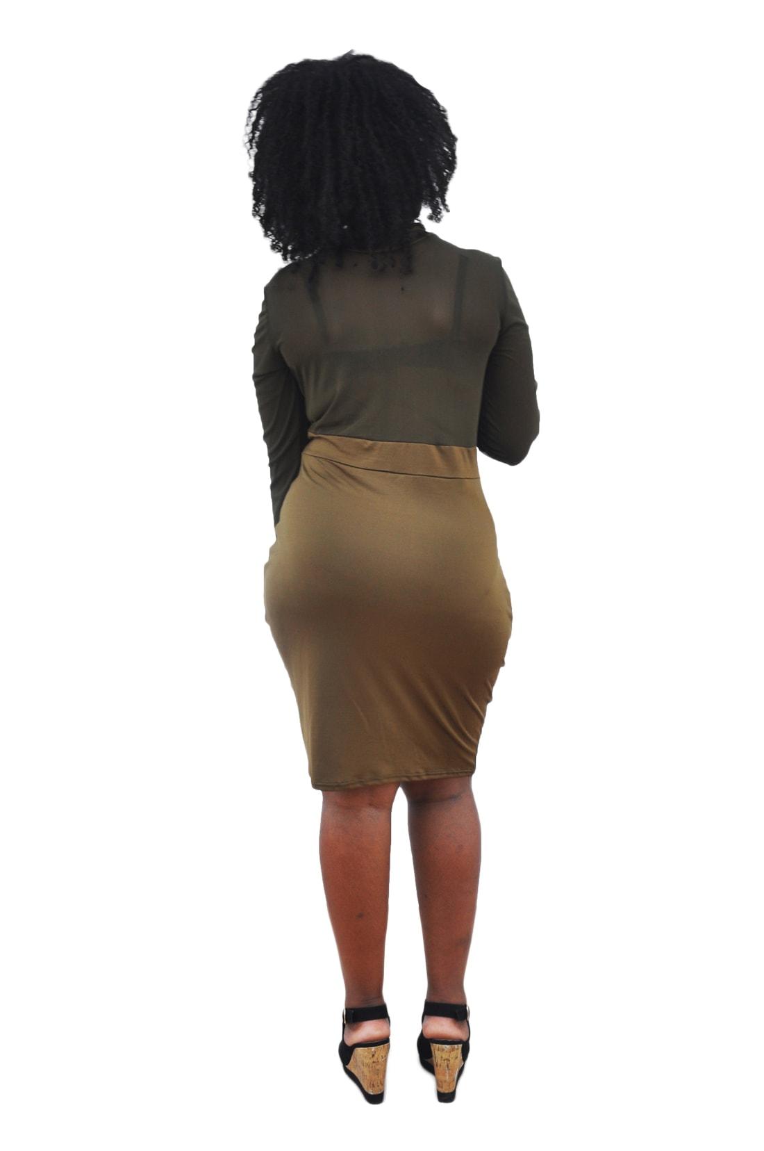 M0210 olive2 Midi Medium Dresses maureens.com boutique