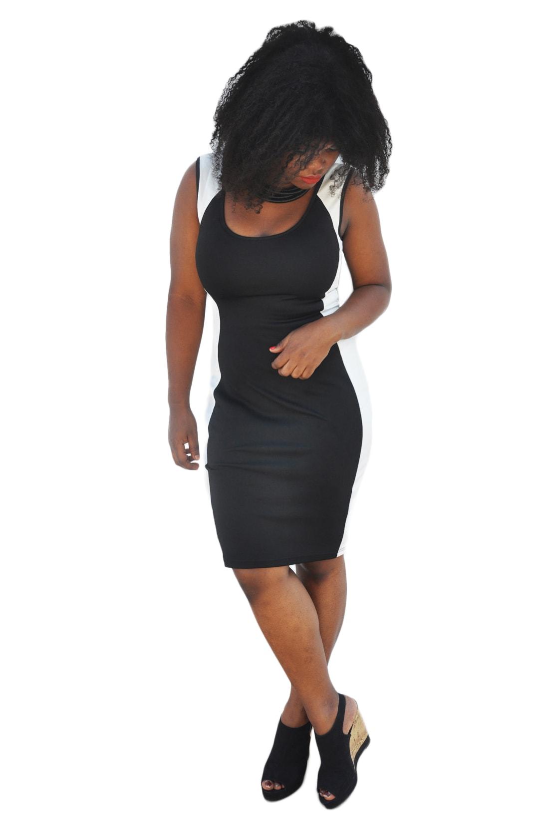 M0214 blackwhite1 Bodycon Dresses maureens.com boutique
