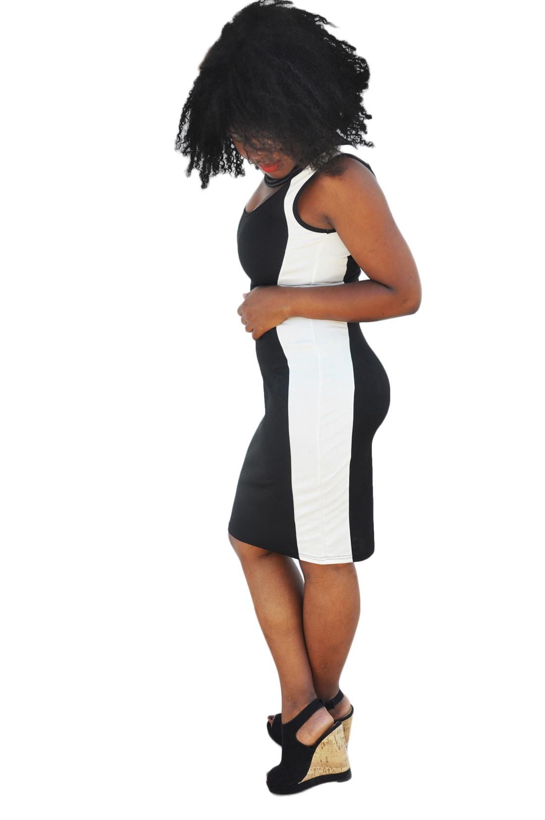 M0214 blackwhite2 Bodycon Dresses maureens.com boutique