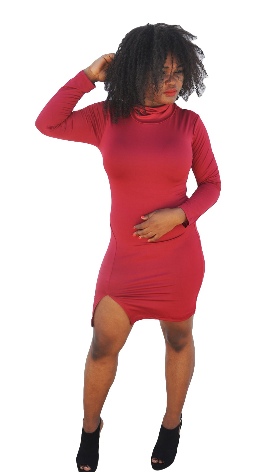 M0236 red1 Long Sleeve Dresses maureens.com boutique