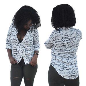 M0239 blackwhite1 Blouses Tops Shirts maureens.com boutique