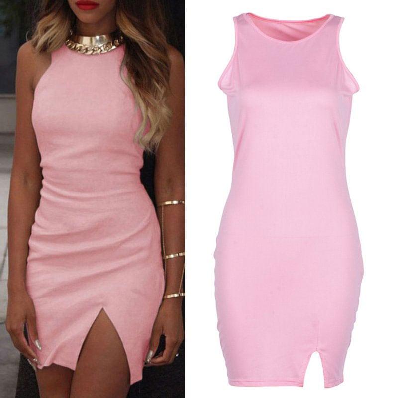 M0251 pink1 Sleeveless Dresses maureens.com boutique