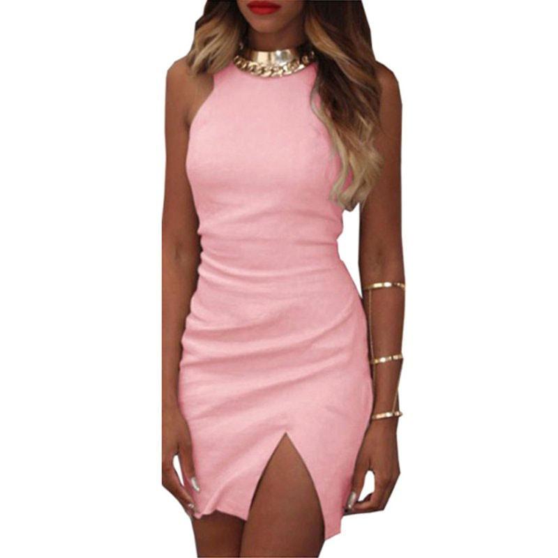 M0251 pink2 Sleeveless Dresses maureens.com boutique