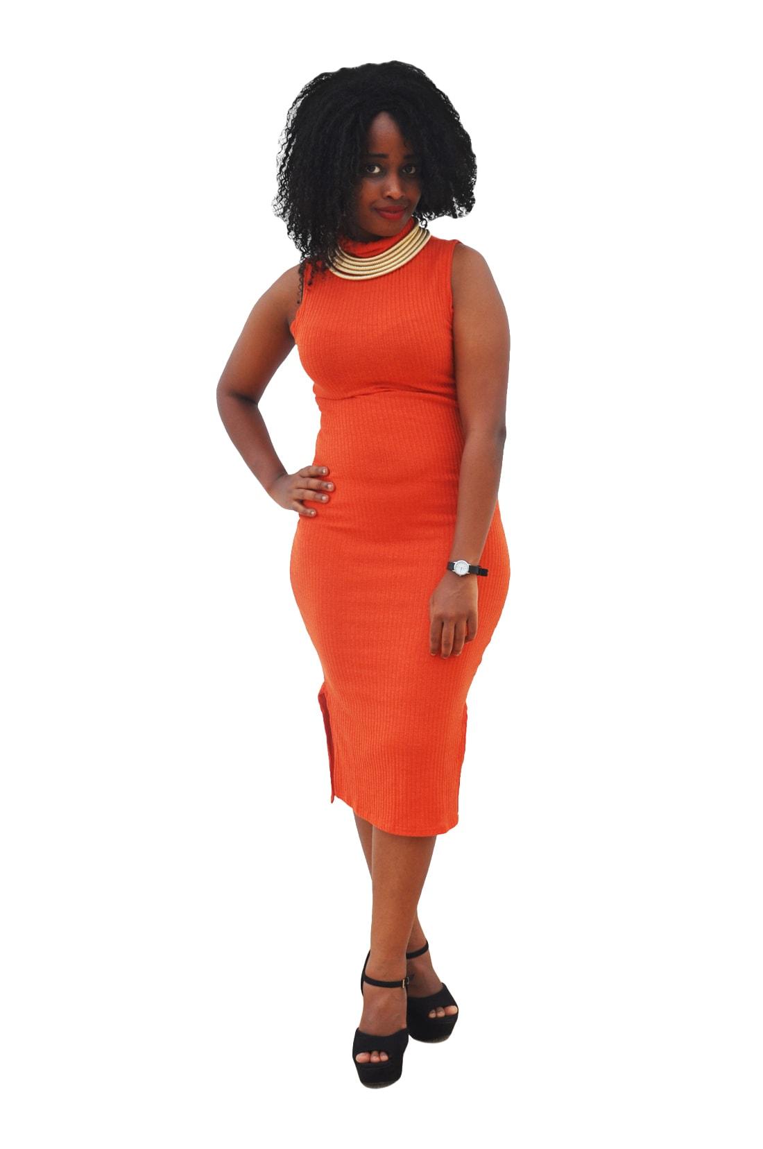M0272 orange1 Sleeveless Dresses maureens.com boutique