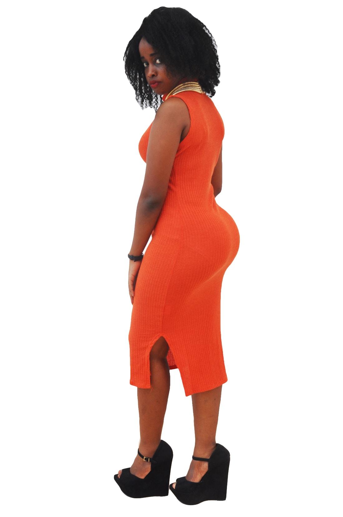 M0272 orange2 Sleeveless Dresses maureens.com boutique