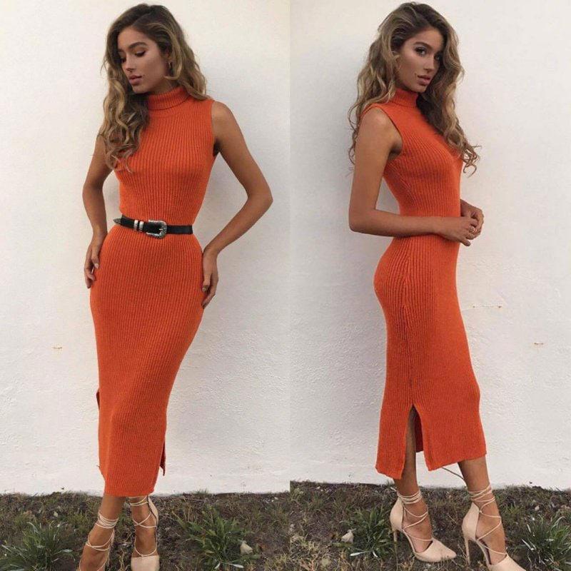 M0272 orange3 Sleeveless Dresses maureens.com boutique