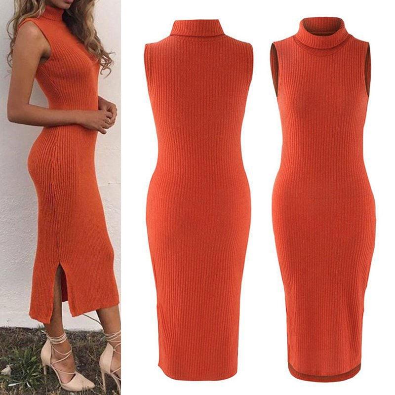 M0272 orange4 Sleeveless Dresses maureens.com boutique