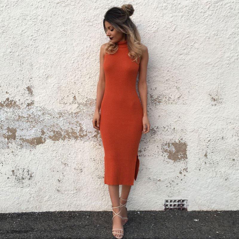 M0272 orange5 Sleeveless Dresses maureens.com boutique