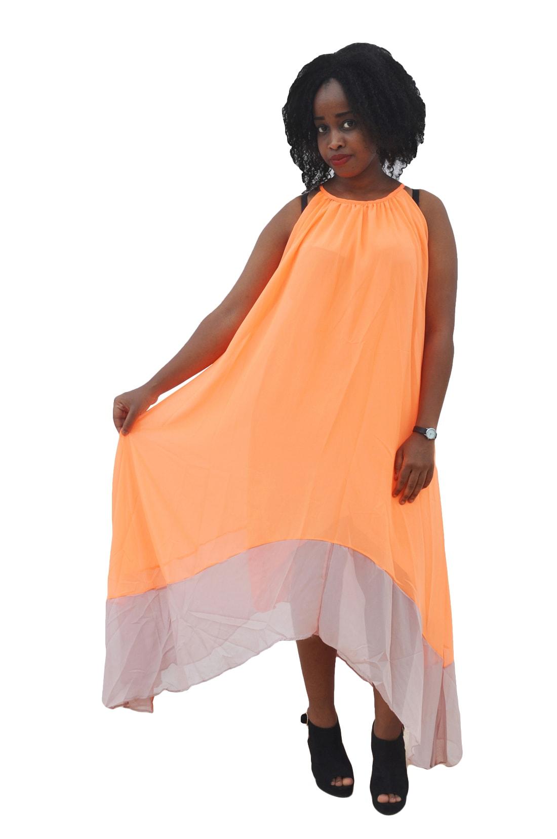 M0279 orange1 High Low Dresses maureens.com boutique