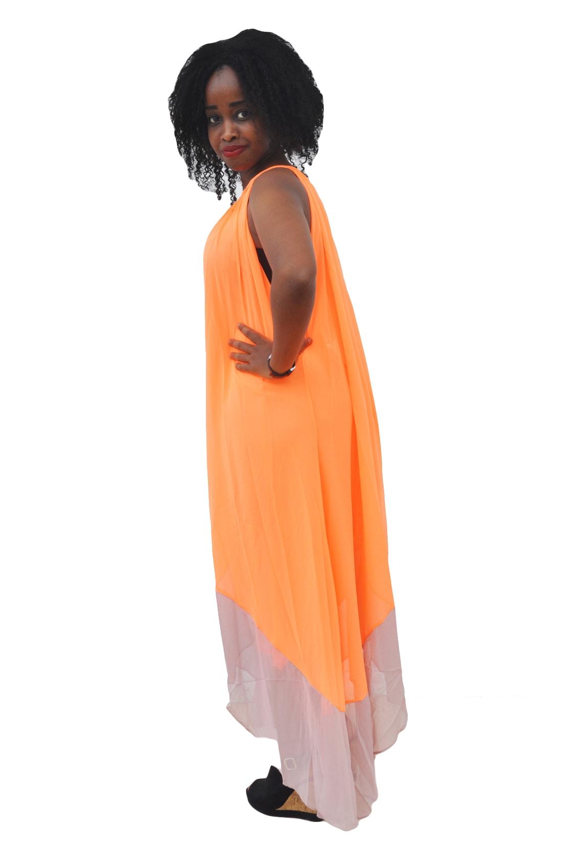 M0279 orange2 High Low Dresses maureens.com boutique