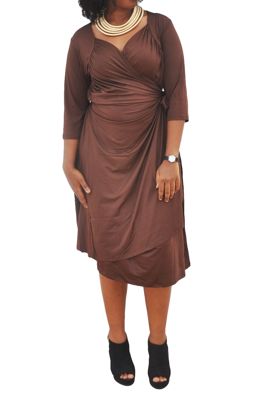 M0281 brown1 Short Sleeve Dresses maureens.com boutique