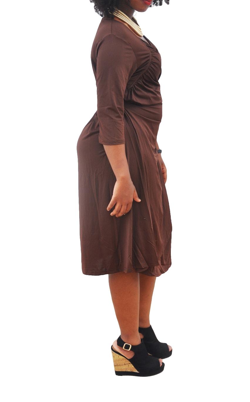M0281 brown2 Short Sleeve Dresses maureens.com boutique