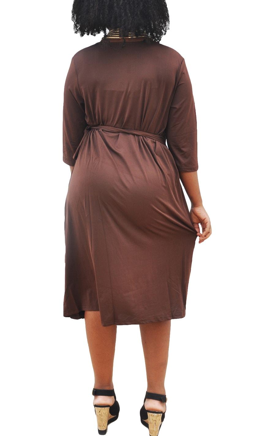 M0281 brown3 Short Sleeve Dresses maureens.com boutique
