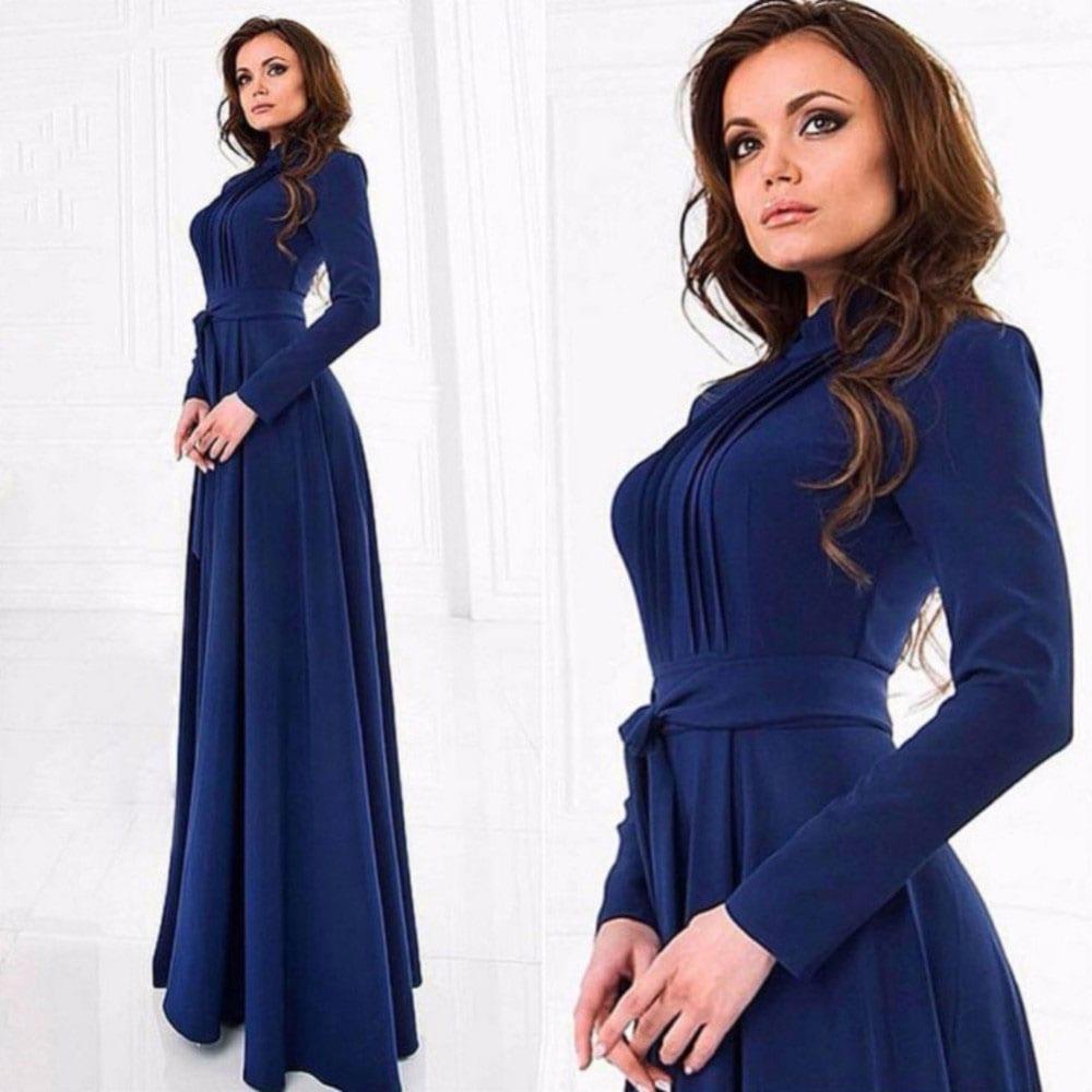 M0293 blue7 Long Sleeve Dresses maureens.com boutique