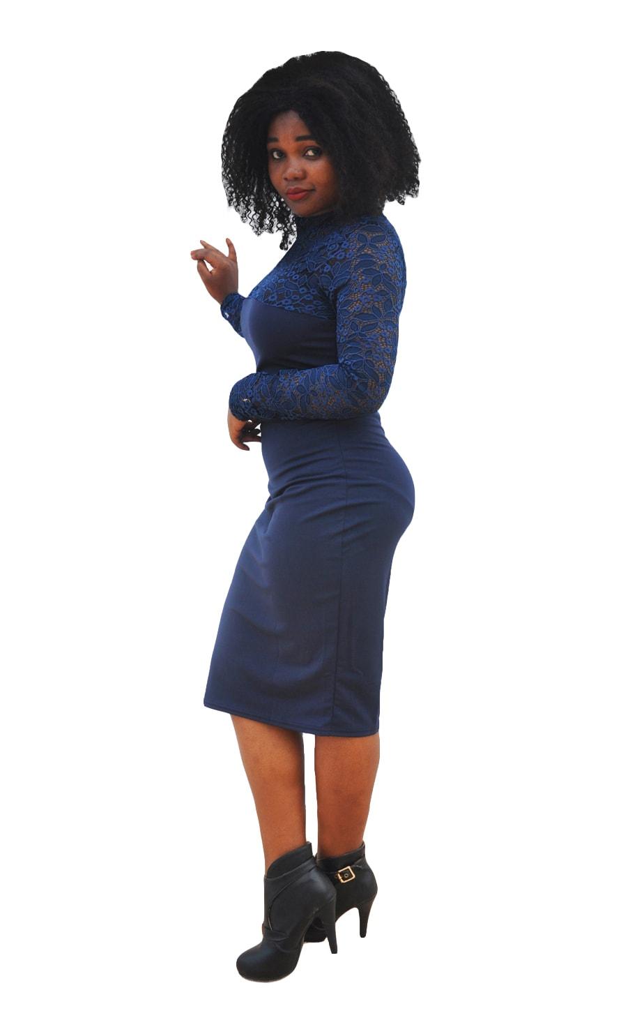 M0295 blue2 Bodycon Dresses maureens.com boutique