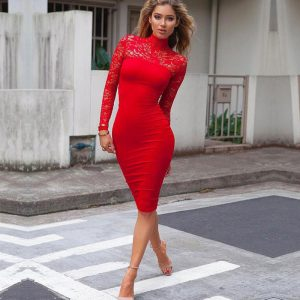 M0295 red1 Midi Medium Dresses maureens.com boutique