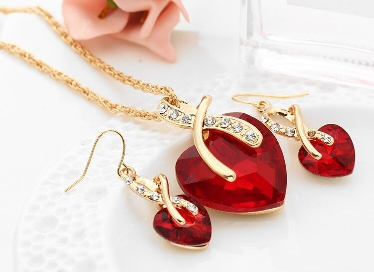 M0314 red2 Jewelry Accessories Jewelry Sets maureens.com boutique