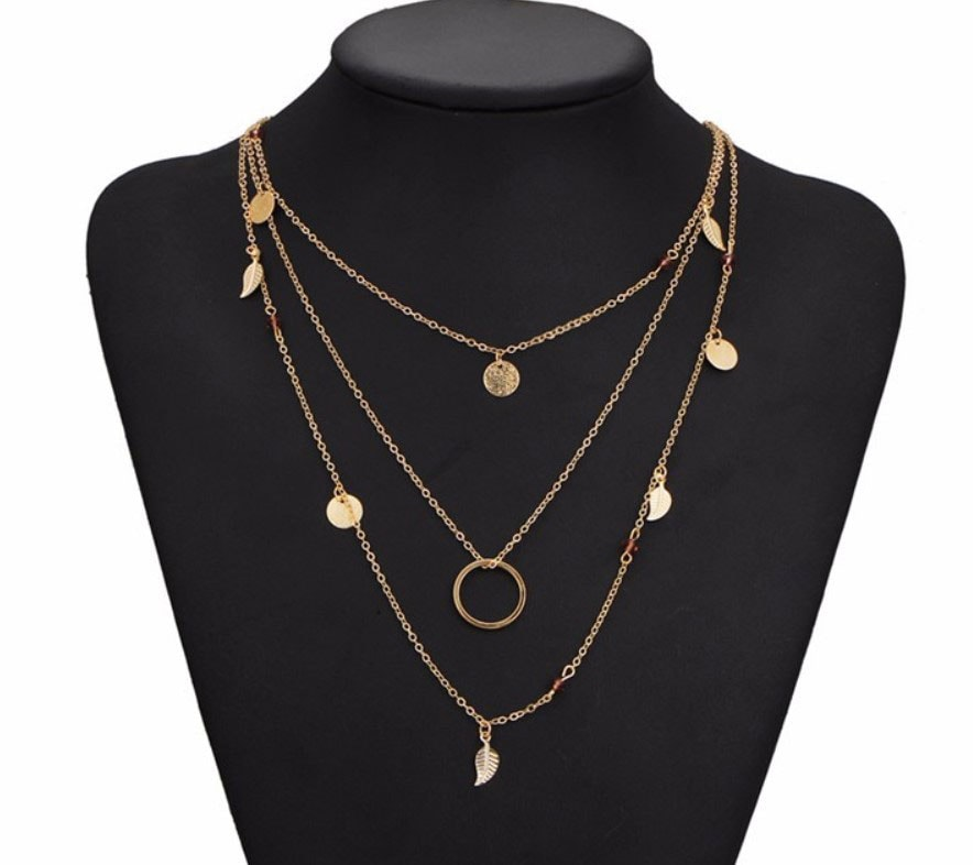 M0315 gold 3sty1 Jewelry Accessories Necklaces Chokers maureens.com boutique