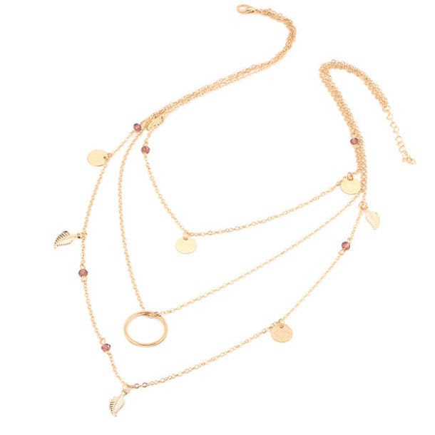 M0315 gold 3sty2 Jewelry Accessories Necklaces Chokers maureens.com boutique