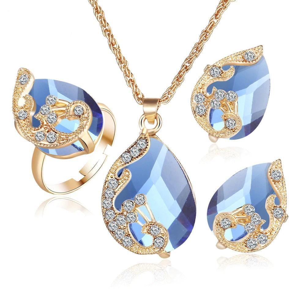 M0329 blue1 Jewelry Accessories Jewelry Sets maureens.com boutique