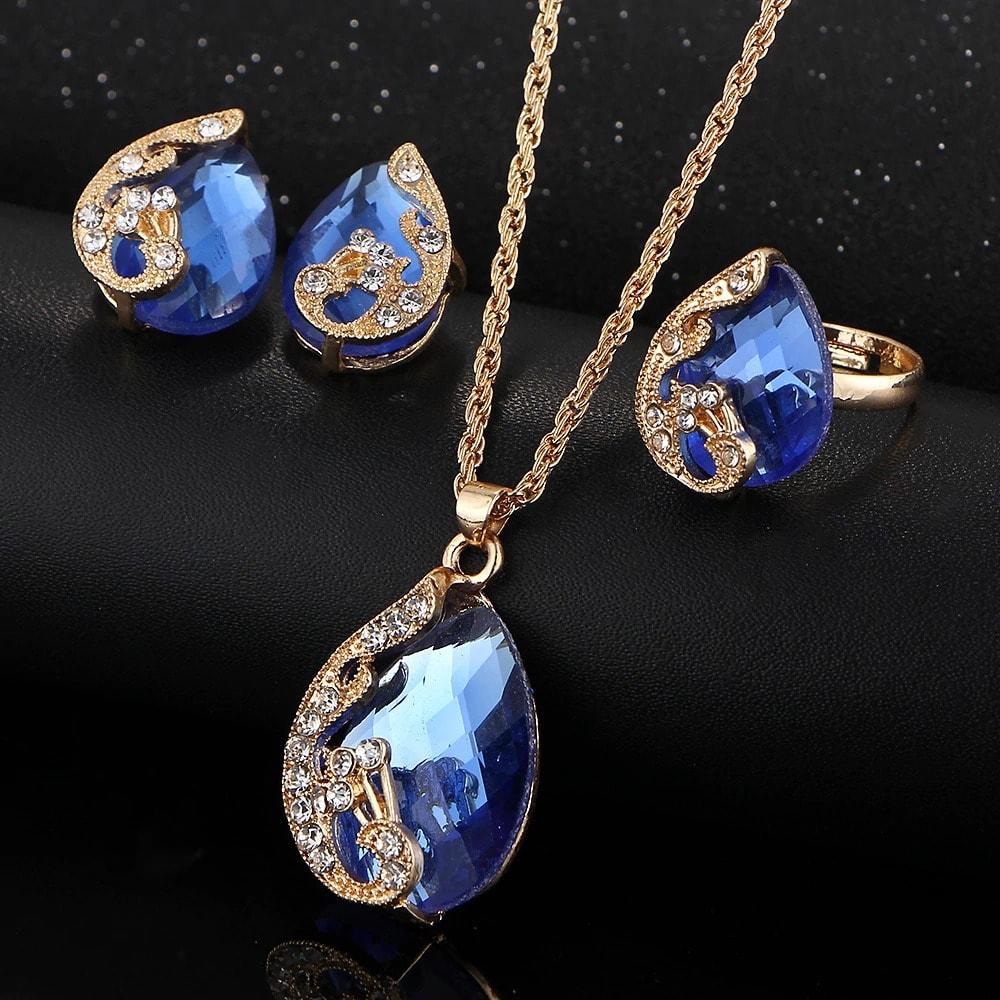 M0329 blue2 Jewelry Accessories Jewelry Sets maureens.com boutique