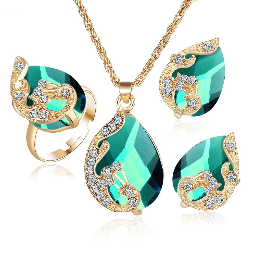 M0329 green1 Jewelry Accessories Jewelry Sets maureens.com boutique