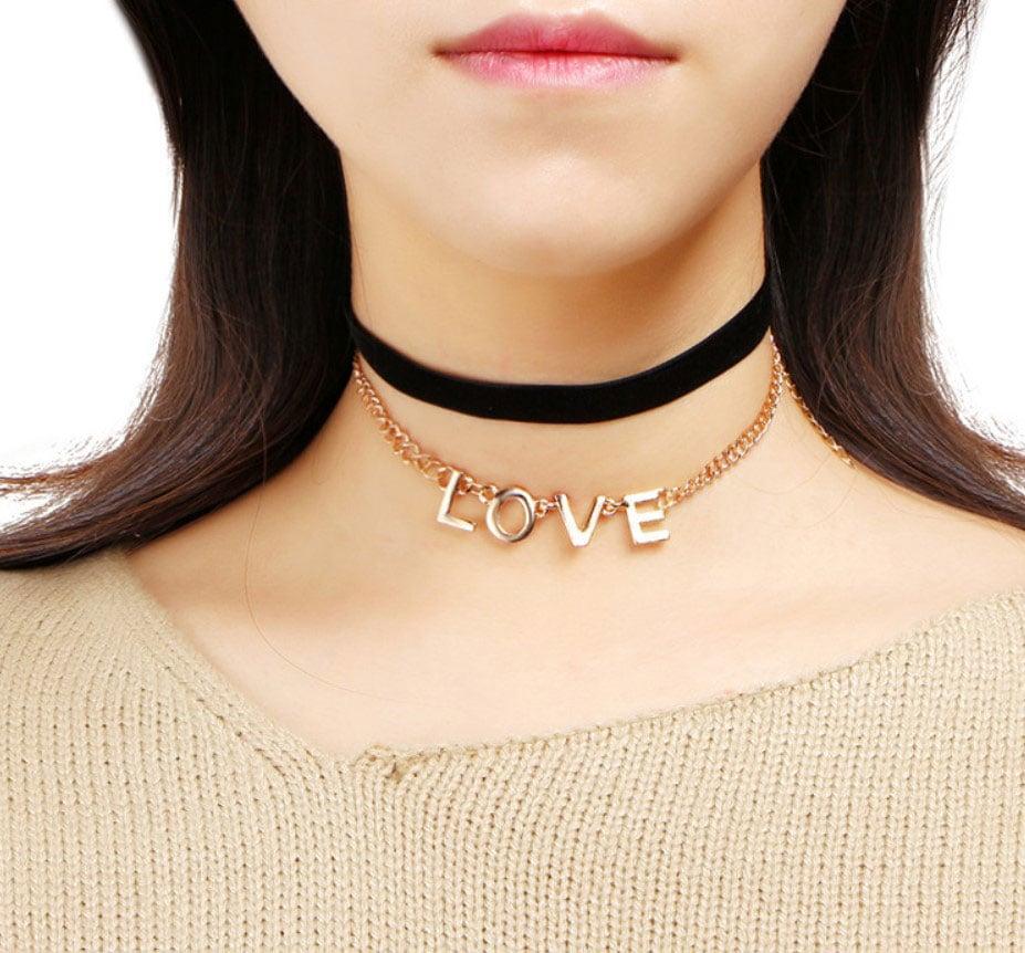 M0342 blackgold1 Jewelry Accessories Necklaces Chokers maureens.com boutique