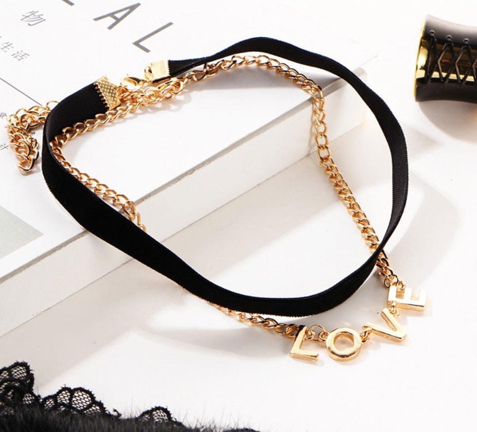 M0342 blackgold3 Jewelry Accessories Necklaces Chokers maureens.com boutique